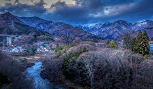Фото Япония Горы Речка Деревья Gunma Природа