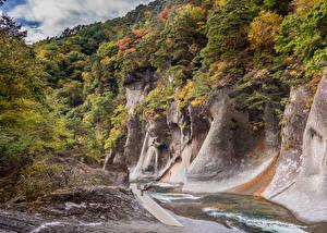 Фотография Япония Речка Осень Утес Gunma Природа