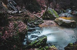 Обои Люксембург Водопады Камень Мох Schiessentumpel Cascade Природа