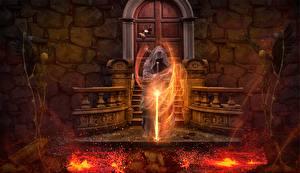 Картинки Колдун Огонь Волшебство Готические Мечи Скелеты Лава Фантастика