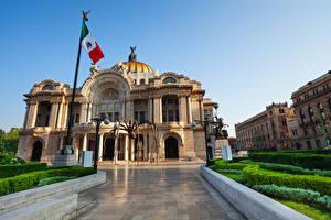Обои Мексика Здания Дворец Флаг Mexico