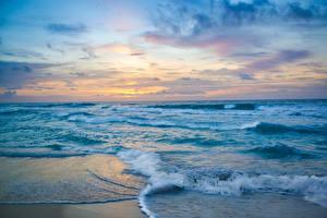 Фото Мексика Море Побережье Волны Рассветы и закаты Cancun Природа