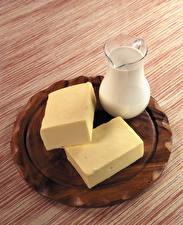 Обои Молоко Разделочная доска Кувшин Масло Еда