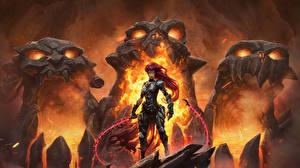 Фотография Монстры Пламя Воины Darksiders Броня 3 Фантастика Девушки