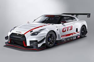 Фотографии Ниссан Стайлинг Серый фон Белый 2018 Nismo GT-R GT3