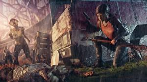 Фотографии Дождь Зомби Винтовки The Last of Us Девочки ellie