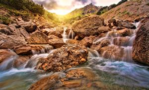 Фотографии Реки Камень Водопады Природа