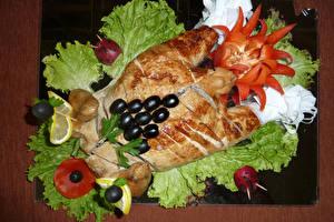 Картинки Курица запеченная Овощи Оливки Дизайн