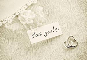 Фотография Роза День всех влюблённых Английская Ювелирное кольцо Две love you