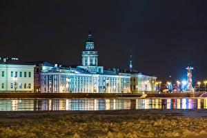 Обои для рабочего стола Россия Санкт-Петербург Дома Река В ночи Kunstkamera город