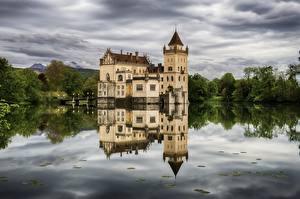 Фотографии Зальцбург Австрия Пруд Замки Отражение Castle Anif Города