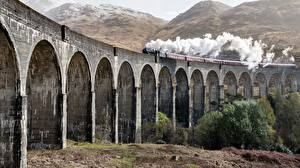 Обои Шотландия Поезда Мосты Дым Glenfinnan Еда картинки