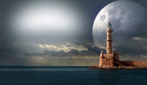 Картинка Море Маяки Луна Фэнтези