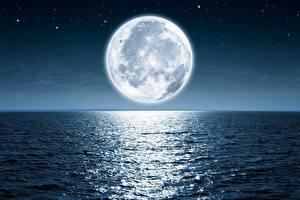 Картинка Море Океан Луна