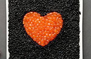 Фото Морепродукты Икра Сердце Зерна Продукты питания