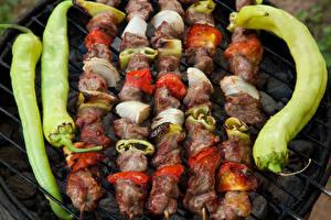 Картинка Шашлык Мясные продукты Овощи Перец овощной Еда