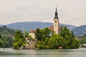 Фотография Словения Озеро Дома Храмы Пристань Bled