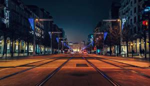 Фотография Испания Здания Дороги Вечер Улица Zaragoza Города