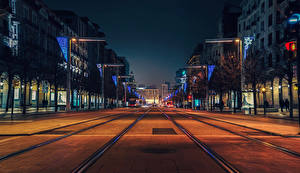 Фотография Испания Здания Дороги Вечер Улица Zaragoza