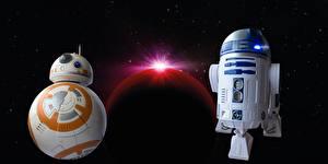 Картинки Звездные войны Роботы Двое R2d2, BB-8 Фильмы
