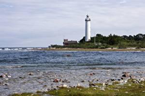 Фото Камень Берег Маяки Швеция Lighthouse Long Erik, Island Of Oland Природа