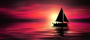 Фотография Рассветы и закаты Море Лодки Парусные Силуэт