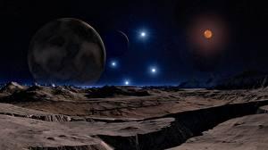 Картинки Поверхность планеты Планеты Горы Звезды 3D Графика