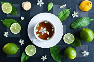 Картинки Чай Лайм Чашка Листва Пища