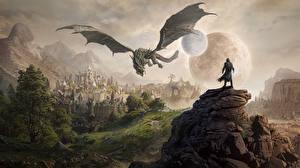 Обои The Elder Scrolls Драконы Горы Замки Игры Фэнтези