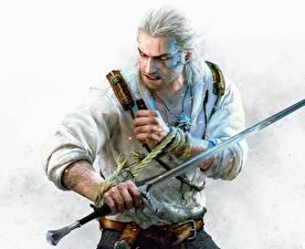 Фото Ведьмак 3: Дикая Охота Воины Геральт из Ривии Мужчины Мечи Hearts of Stone Игры