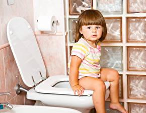 Фотография Туалет Девочка Сидящие ребёнок