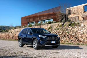 Картинки Тойота Гибридный автомобиль Синий Металлик 2019 RAV4 Hybrid Worldwide