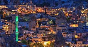 Картинки Турция Дома Вечер Goreme город