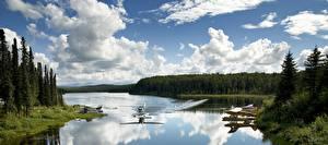 Картинки США Аляска Самолеты Озеро Леса Гидросамолёт Fish lake Природа Авиация