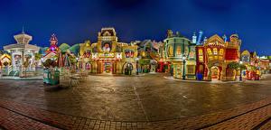 Обои Америка Диснейленд Парки Здания Вечер Калифорния Анахайм Дизайна HDR Города
