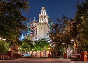 Фотография Америка Диснейленд Парк Здания Вечер Калифорнии Анахайм Дизайн Уличные фонари город