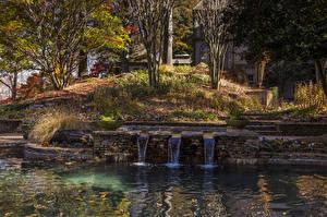 Картинки Штаты Сады Пруд Водопады Осенние Деревья Gibbs Gardens Природа