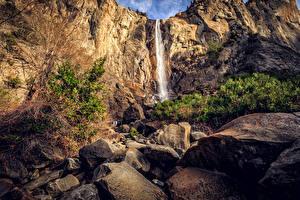 Фотография США Парки Водопады Камень Калифорния Йосемити Скале Природа