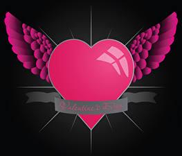 Картинки День всех влюблённых Английский Сердце Крылья 3D Графика