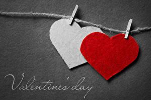 Фотография День всех влюблённых Серый фон Английский Сердечко 2 Прищепки