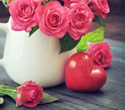 Фотография День всех влюблённых Розы Розовый Сердечко Цветы