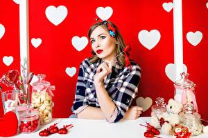 Фотография День святого Валентина Сладости Сердце Шатенка