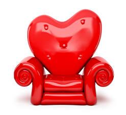 Картинки День святого Валентина Белый фон Кресло Красный Сердечко Дизайн