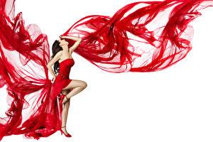 Фотографии Белый фон Шатенка Платье Ноги Танцует Девушки