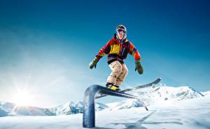 Обои Зима Лыжный спорт Мужчины Очки Спорт