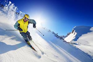 Фото Зима Лыжный спорт Мужчины Снегу Очков