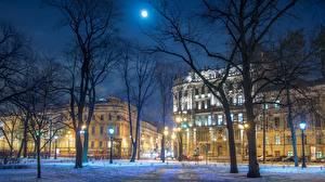 Обои Зимние Санкт-Петербург Россия Ночные Деревья Улица Nevsky Prospect Города