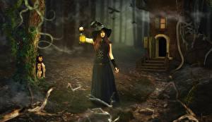 Фото Ведьма Фонарь Ночь Шляпа Девочки Фэнтези