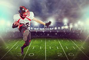 Фотография Американский футбол Мужчины Униформа Бег Мяч