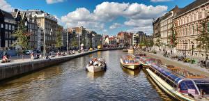 Картинка Амстердам Нидерланды Речка Здания Речные суда Города